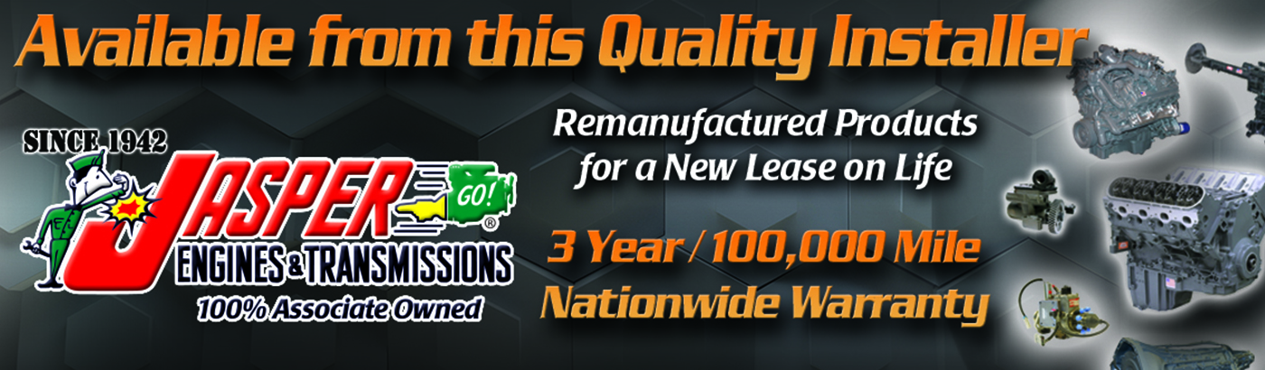Banner: Differentials, available from this quality installer, remanufactured products for a new lease on life. Jasper Transmissions.
